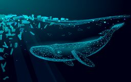 Low poly 3D whale plastic ocean pollution swimming undersea. Water surface dark night glowing wave garbage. Save help. Survive humpback whale marine wild life stock illustration