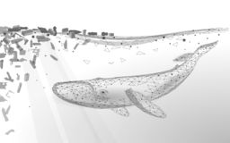 Low poly 3D whale plastic ocean pollution swimming undersea. Water surface white wave garbage. Save help survive royalty free illustration