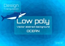 Low poly dark blue abstract background. Geometric triangulation of ocean depths. Textured template. Vector illustration royalty free illustration