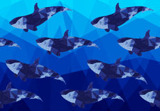 Low poly dark fish on low poly sea Royalty Free Stock Photos