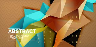 Low poly design 3d triangular shape background, mosaic abstract design template. Vector illustration royalty free illustration
