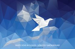 Low poly dove. Vector illustration with paper bird on triangulated sky, low poly peace background Stock Photography