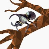 Low poly Dynastinae or rhinoceros beetles on tree and falling leaf with white background,Abstract insect,geometric style,bug carto stock illustration