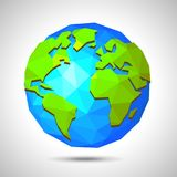 Low poly earth isolated on white vector Stock Image