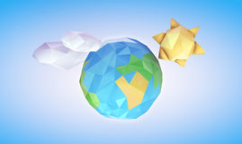 Low Poly Earth and Sun. Environmental Earth, sun and clouds concept. Clipping path included for easy selection Royalty Free Stock Photo