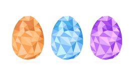 Low-poly Easter eggs set vector isolated on white background, geometric shape, modern illustration royalty free illustration