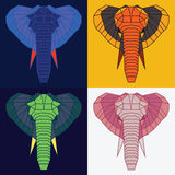 Low poly elephants set. Four color variations Royalty Free Stock Photography