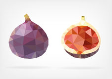 Low Poly Fig fruit. Vector illustration of Fig fruit in low poly design Stock Photo