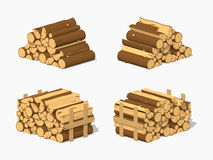 Low poly firewood stacked in piles Royalty Free Stock Image