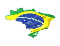 Low poly flag in Map of Brazil stock illustration
