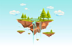 Low poly flying island a blue sky royalty free illustration