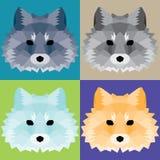 Low poly foxes set. Nice geometric art Royalty Free Stock Photos