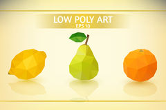 Low poly fruit Set. Set of low poly fruit vector illustrations in triangular style royalty free illustration