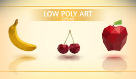 Low poly fruit Set Stock Photography