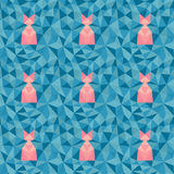 Low poly geometric pattern. Abstract seamless background in blue tones with pink cat-like figures Stock Photos