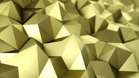 Low poly gold construction 3D rendering background. Low poly gold construction. Abstract polygonal shape. 3D rendering with DOF royalty free illustration