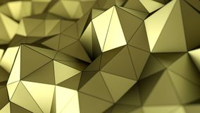 Low poly gold surface abstract 3D rendering. Low poly gold surface. Abstract polygonal shape. 3D rendering with DOF Vector Illustration