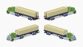 Low poly green heavy truck and trailer with the tarpaulin tent Royalty Free Stock Photo