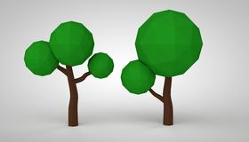 Low poly green trees. Low poly orange background trees stock illustration