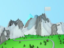Low poly green valley Stock Photos