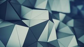 Low poly grey surface 3D rendering. Low poly grey surface. Abstract polygonal shape. 3D rendering with DOF stock illustration