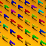 Low-poly guns 3d rendered illustration. Rendered colorful guns, low-poly illustration pattern Royalty Free Stock Photo