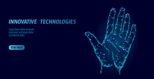 Low poly hand scan cyber security. Personal identification fingerprint handprint ID code. Information data safety access. Network futuristic biometrics Royalty Free Stock Images