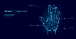 Low poly hand scan cyber security. Personal identification fingerprint handprint ID code. Information data safety access. Network futuristic biometrics Royalty Free Stock Photo