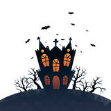 Low Poly Haunted House Isolated. Vector illustration of low-polygonal haunted house with white isolated background Royalty Free Stock Photography