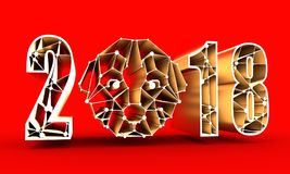 Low poly head of the dog and year number. 2016 new year number and symmetrical illustration of dog made in low poly triangular style. 3D rendering Stock Photo