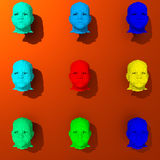 Low poly heads colorful 3d illustration. Low-poly human heads illustration, pop art colorful style Stock Photos