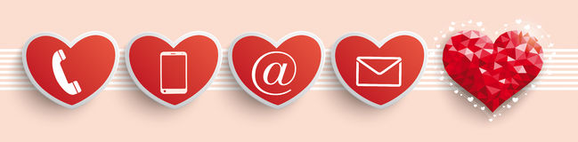 Low Poly Heart Contact Icons Header Royalty Free Stock Photo