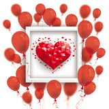 Low Poly Heart Red Balloons Frame. Red balloons with low poly heart and frame on the white Stock Photo