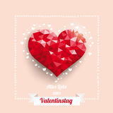 Low Poly Heart Ribbon Valentinstag Royalty Free Stock Images