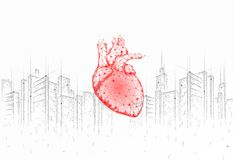 Low poly heart urban health day. Global cardiac awareness medicine banner cityscape city stress situation. Doctor online royalty free stock photos