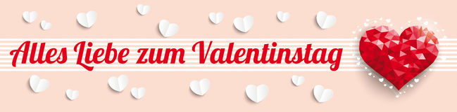 Low Poly Heart Valentinestag Header Royalty Free Stock Photos