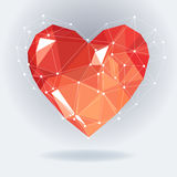 Low poly heart with white molecule structure. Vector Illustration. Abstract polygonal heart. Love symbol. Stock Image