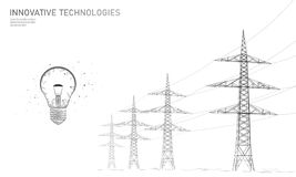 Low poly high voltage power line idea bulb. Electricity supply industry pylons outlines black white. Innovation. Electrical technology solution banner template vector illustration