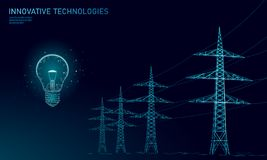 Low poly high voltage power line idea bulb. Electricity supply industry pylons outlines on dark night blue sky. Innovation electrical technology solution vector illustration