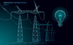 Low poly high voltage power line idea bulb. Electricity supply industry pylons outlines on dark night blue sky. Innovation electrical technology solution stock illustration