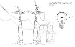 Low poly high voltage power line idea bulb. Electricity supply industry pylons outlines gray on white. Innovation. Electrical technology solution banner stock illustration
