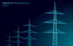 Low poly high voltage power line silhouette. Electricity supply industry pylons outlines on dark night blue sky. Innovation ecectrical technology banner vector illustration