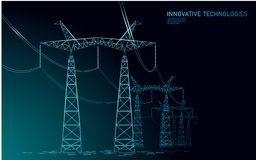 Low poly high voltage power line silhouette. Electricity supply industry pylons outlines on dark night blue sky. Innovation ecectrical technology banner stock illustration