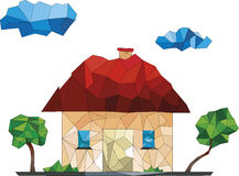 Low poly house illustration. Green trees and a low house on a white background Royalty Free Stock Photo