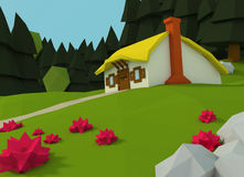 Low poly house stands on a glade Royalty Free Stock Photo