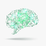Low poly human brain Royalty Free Stock Images