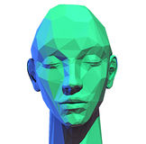 Low poly  human head Stock Photo