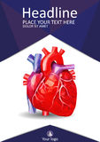 Low poly human heart book cover. Academic design. Vector. Medical book cover design A4. Annual report with human heart in low poly. Academic journals Stock Images