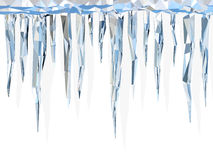 Low poly icicles. Very high resolution 3d rendering of cool icicles in a white background Stock Photography