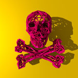 Low poly illustration of a skull. Red low poly illustration of skinned skull and bones Stock Image